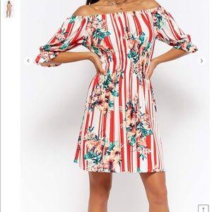 Striped floral off shoulder dress